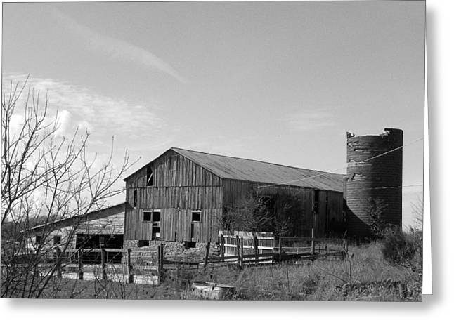 Barn In Black And White Greeting Card by Brittany Roth