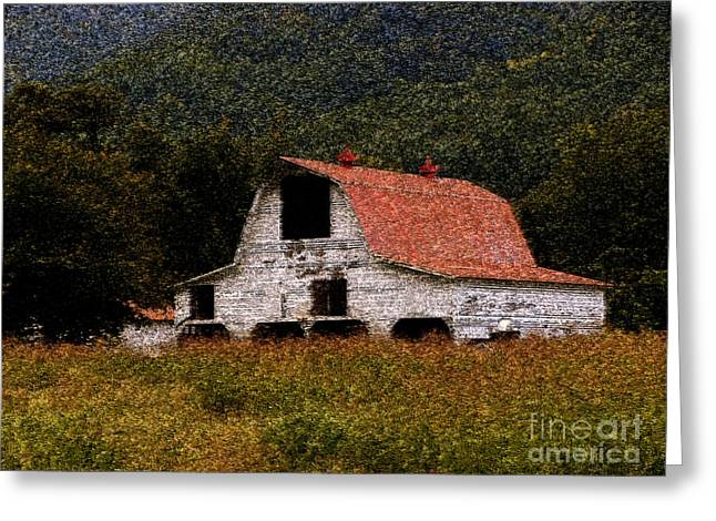 Greeting Card featuring the photograph Barn In Mountains by Lydia Holly
