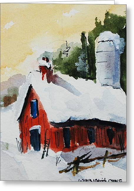 Barn In Snow Greeting Card by Wilfred McOstrich