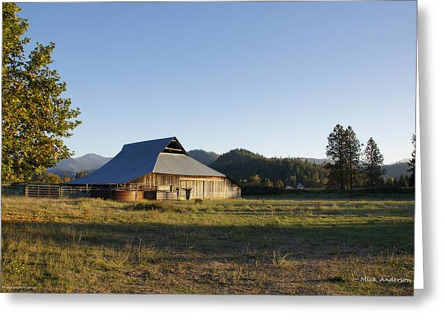 Barn In The Applegate Greeting Card by Mick Anderson