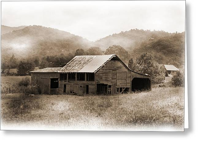 Barn In The Mist Greeting Card by Barry Jones