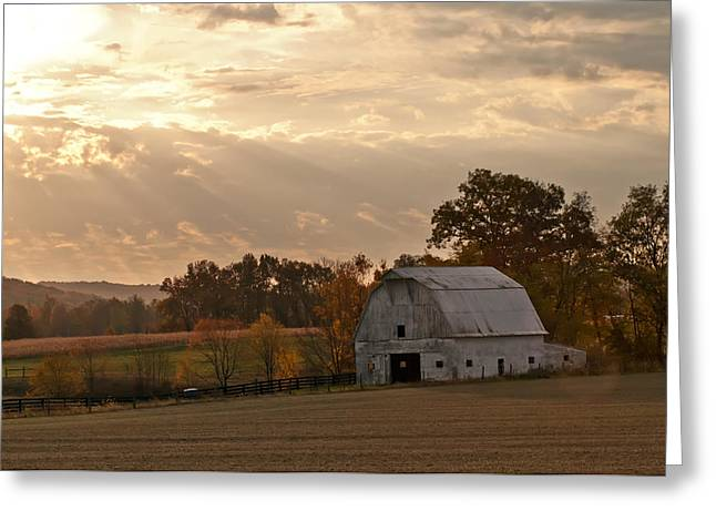 Barn In Warming Storm Greeting Card by Randall Branham