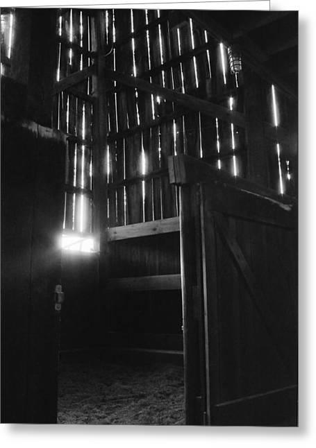 Barn Interior True Bw Greeting Card by Katherine Huck Fernie Howard