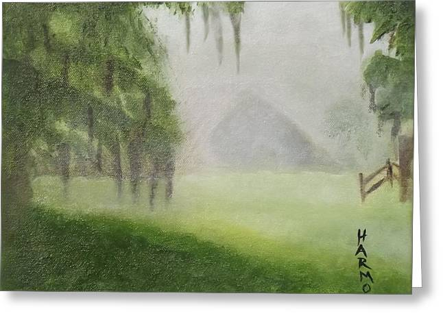 Barn On Foggy Morning Greeting Card by Margaret Harmon