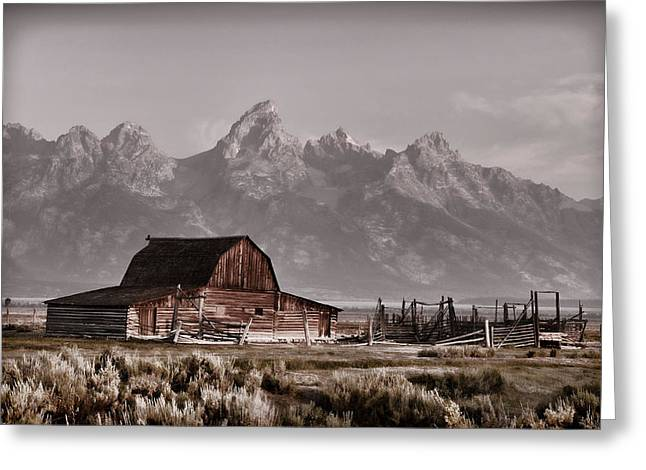 Vintage Barn And The Grand Tetons Greeting Card by Ken Smith