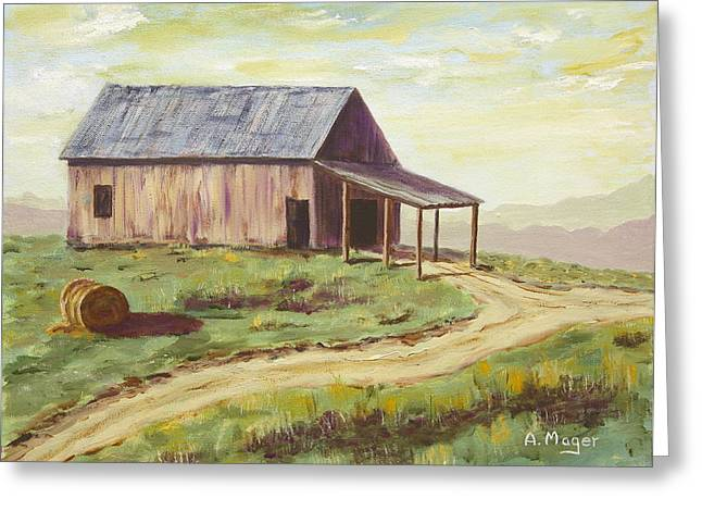 Barn On The Ridge Greeting Card by Alan Mager