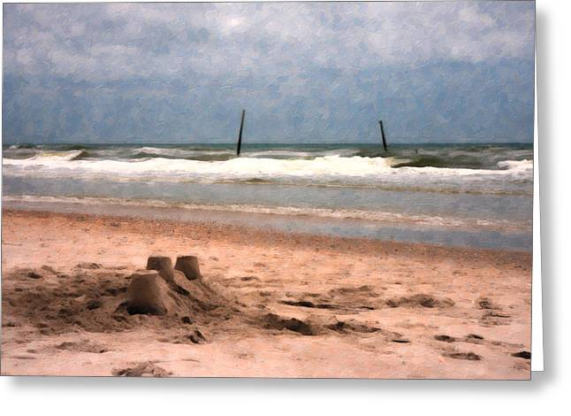 Barnacle Bill's And The Sandcastle Greeting Card by Betsy Knapp
