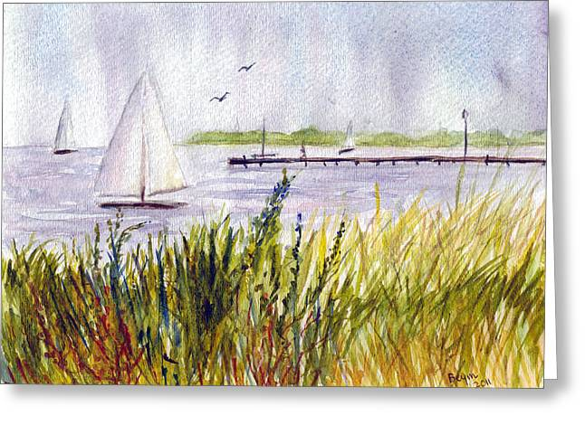 Greeting Card featuring the painting Barnegat Sails by Clara Sue Beym