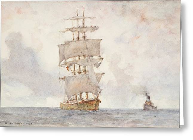Barque And Tug Greeting Card by Henry Scott Tuke