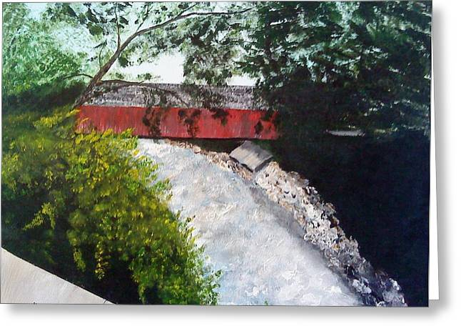 Barrackville Covered Bridge Greeting Card by Carol Van Sickle