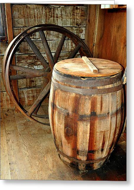 Barrel And Wheel Greeting Card by Marty Koch