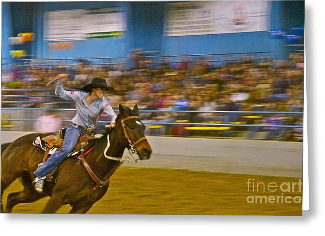 Barrel Racer 2 Greeting Card by Sean Griffin