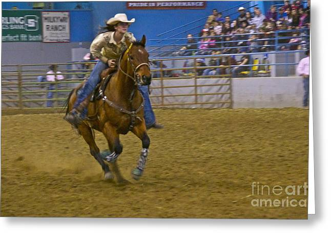 Barrel Racer 3 Greeting Card by Sean Griffin