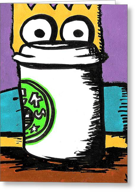 Bart Loves Coffee Greeting Card by Jera Sky