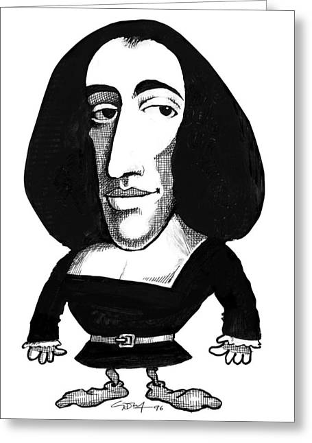 Baruch Spinoza, Caricature Greeting Card by Gary Brown