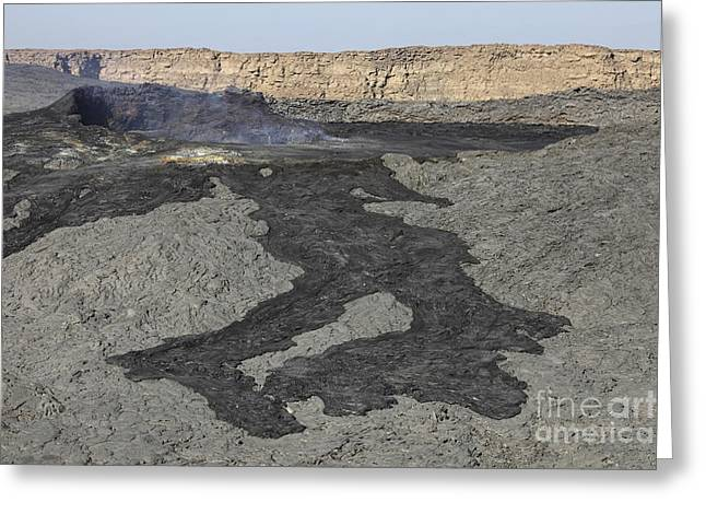 Basaltic Lava Flow From Pit Crater Greeting Card by Richard Roscoe