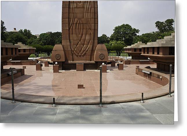 Greeting Card featuring the photograph Base Of The Jallianwala Bagh Memorial In Amritsar by Ashish Agarwal