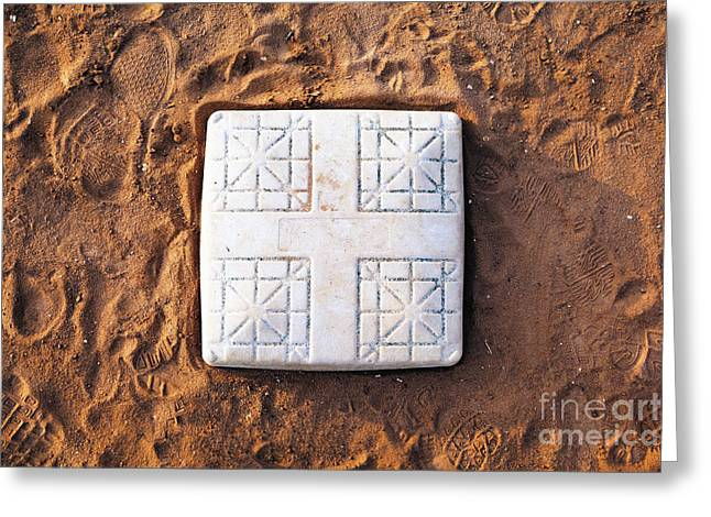 Base On Baseball Field Greeting Card by Skip Nall