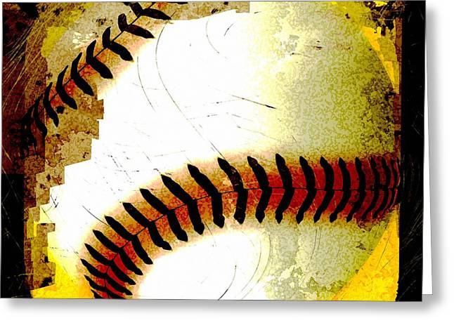 Baseball Abstract Greeting Card by David G Paul