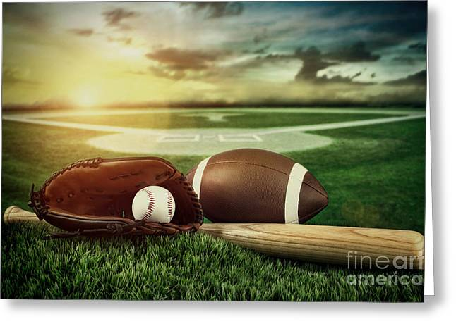 Baseball  Bat  And Mitt In Field At Sunset Greeting Card by Sandra Cunningham