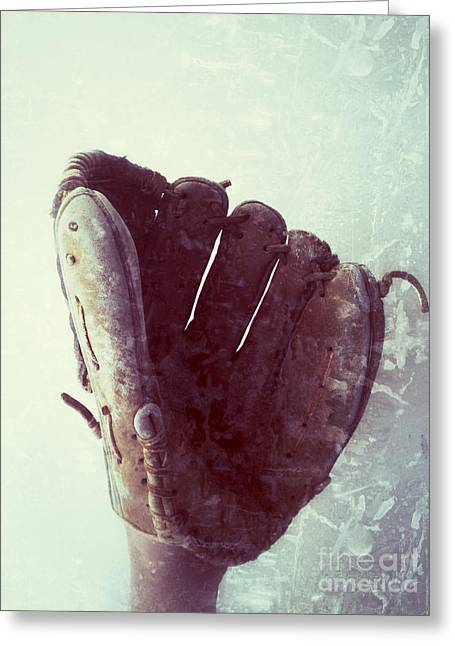Baseball Glove Vertical Greeting Card by Ruby Hummersmith