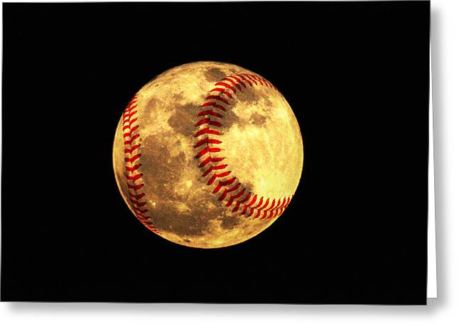 Baseball Moon Greeting Card by Bill Cannon