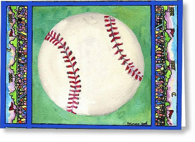 Baseball Greeting Card by Pamela  Corwin