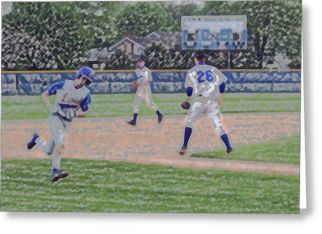 Baseball Runner Heading Home Digital Art Greeting Card by Thomas Woolworth