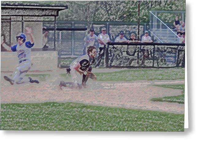Baseball Runner Safe At Home Digital Art Greeting Card by Thomas Woolworth