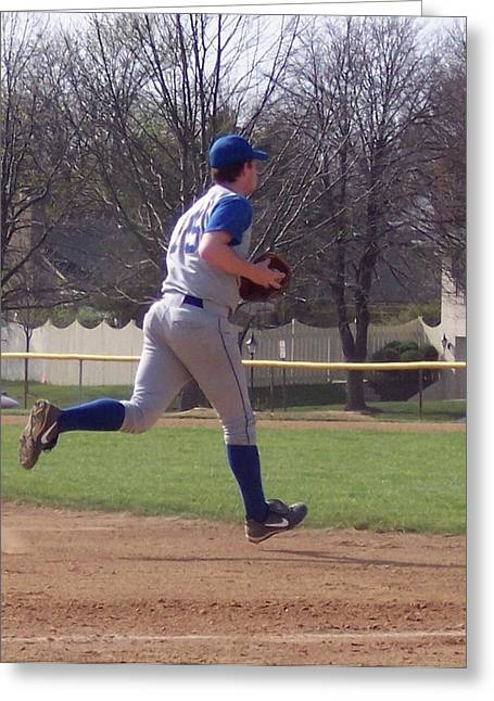 Baseball Step And Throw From Third Base Greeting Card by Thomas Woolworth