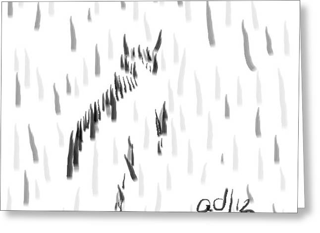 Bashful Without Line Greeting Card by Anita Dale Livaditis