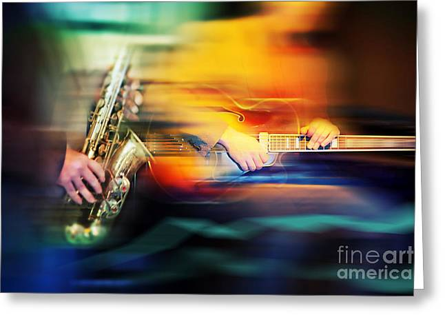 Greeting Card featuring the photograph Basic Jazz Instruments by Ariadna De Raadt