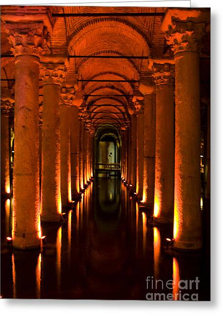 Basilica Cistern Greeting Card by Leslie Leda