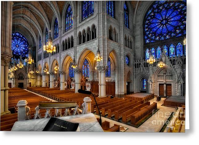Basilica Of The Sacred Heart Greeting Card by Susan Candelario