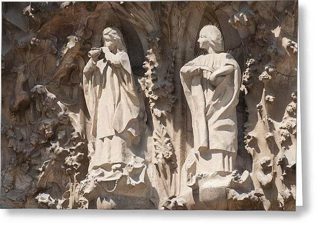 Basilica Sagrada Familia Nativity Facade Detail Greeting Card