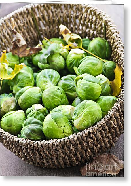 Basket Of Brussels Sprouts Greeting Card by Elena Elisseeva