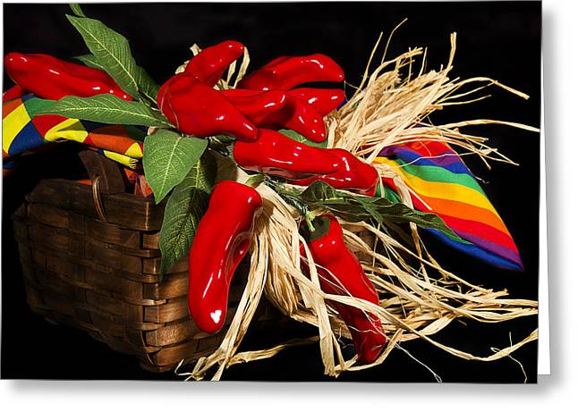 Basket Red Peppers Greeting Card by Trudy Wilkerson