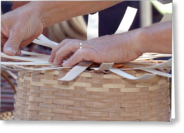 Greeting Card featuring the photograph Basket Weaver by Wanda Brandon