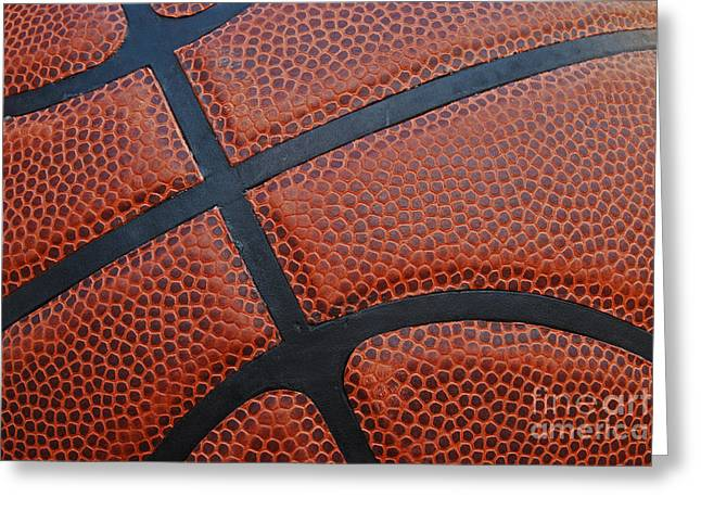 Basketball - Leather Close Up Greeting Card by Ben Haslam