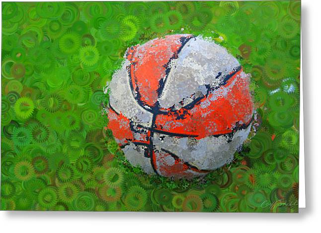 Basketball Orange White Green Abstract Greeting Card by Geoff Strehlow
