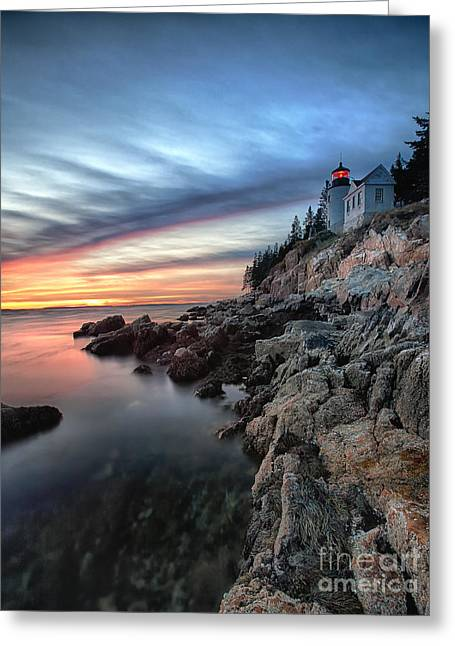 Bass Harbor Head Lighthouse At Sunset Greeting Card