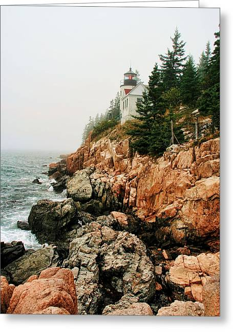 Bass Harbor Light Greeting Card by Mary Hershberger