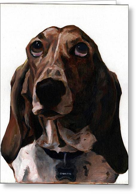 Basset Hound Named Coquette Greeting Card