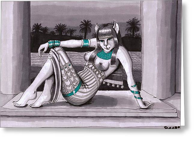 Bastet Greeting Card by Stacy Parker