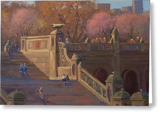 Bathesda Stairway Central Park Greeting Card by Marianne Kuhn