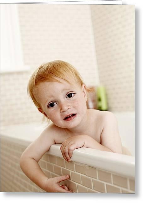 Bathing Child Greeting Card by Ian Boddy