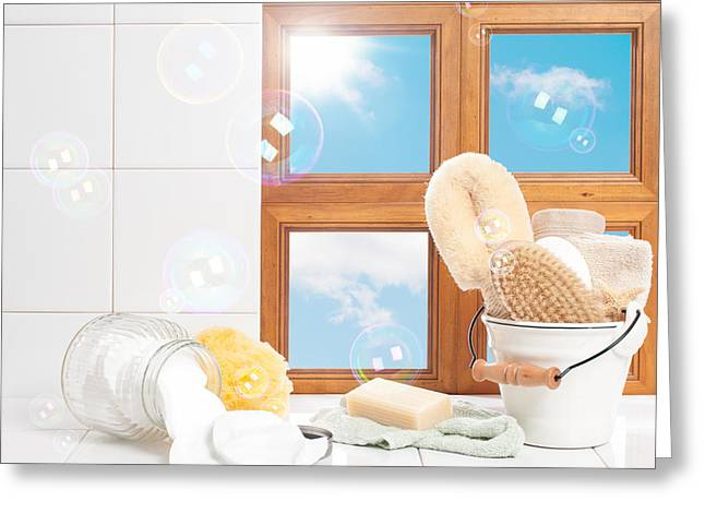 Bathroom Interior Still Life Greeting Card by Amanda Elwell