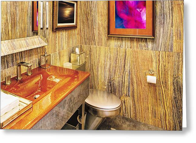 Bathroom Interior With A Wood Grain Decor Greeting Card by Skip Nall