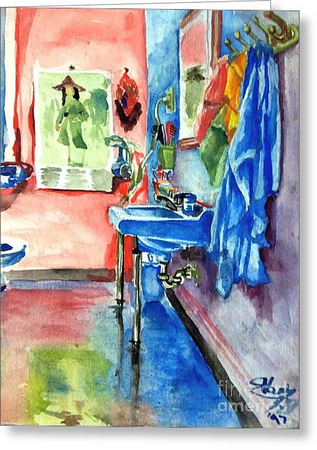 Bathroom Greeting Card by Mike N