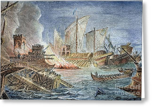 Battle Of Actium, 31 B.c Greeting Card by Granger